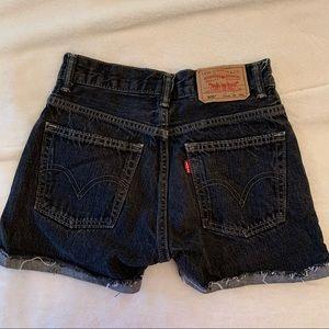 Vintage Levi's 505 washed black denim shorts